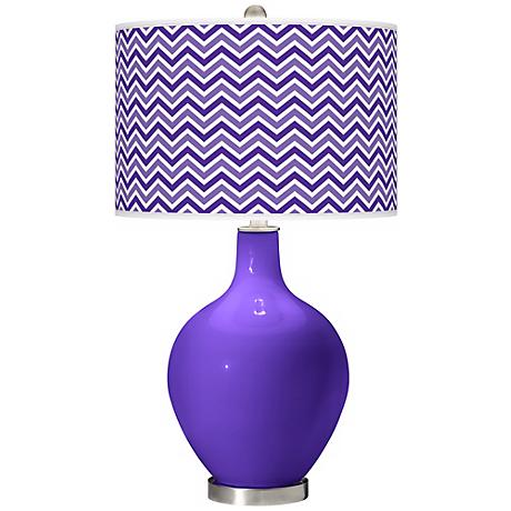 Violet Narrow Zig Zag Ovo Table Lamp