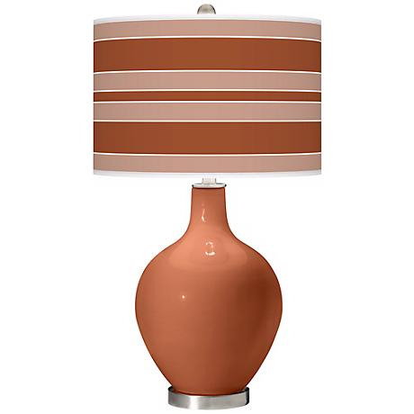 Fawn Brown Bold Stripe Ovo Table Lamp