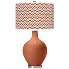 Fawn Brown Narrow Zig Zag Ovo Table Lamp