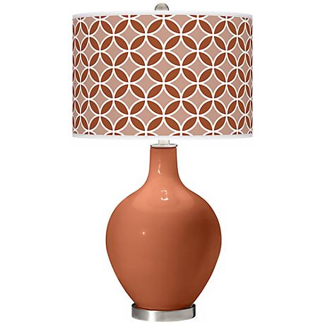 Fawn Brown Circle Rings Ovo Table Lamp