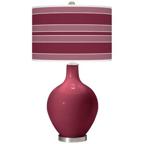 Dark Plum Bold Stripe Ovo Table Lamp