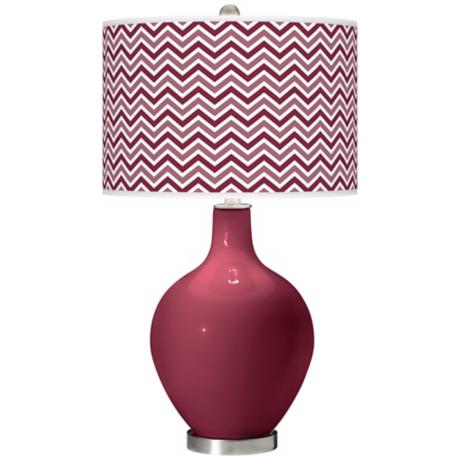 Dark Plum Narrow Zig Zag Ovo Table Lamp