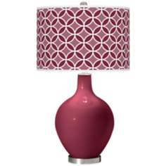 Dark Plum Circle Rings Ovo Table Lamp