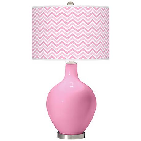 Pale Pink Narrow Zig Zag Ovo Table Lamp