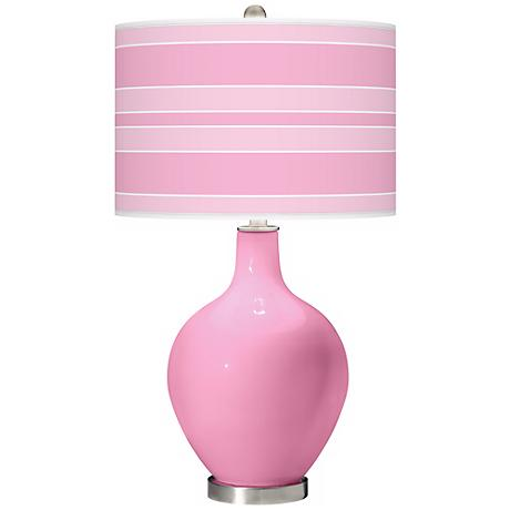 Pale Pink Bold Stripe Ovo Table Lamp