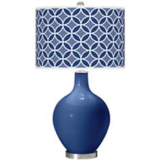 Monaco Blue Circle Rings Ovo Table Lamp