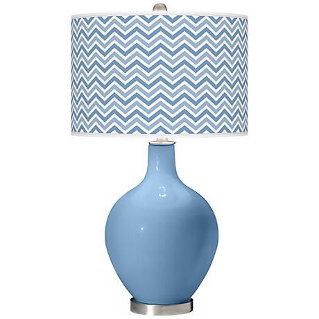 Dusk Blue Narrow Zig Zag Ovo Table Lamp