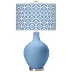 Dusk Blue Circle Rings Ovo Table Lamp