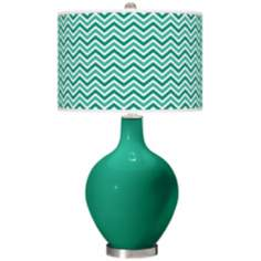 Emerald Narrow Zig Zag Ovo Table Lamp