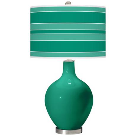 Emerald Bold Stripe Ovo Table Lamp