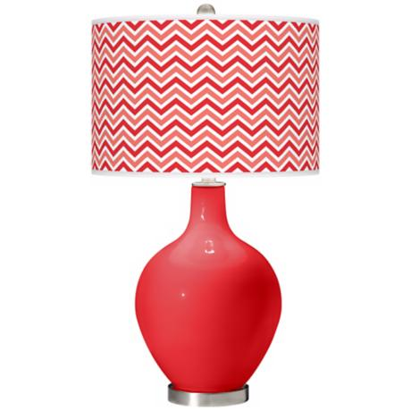 Poppy Red Narrow Zig Zag Ovo Table Lamp