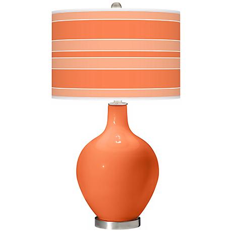 Nectarine Bold Stripe Ovo Table Lamp