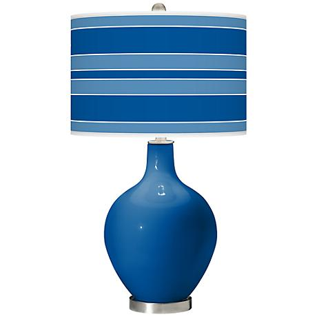 Hyper Blue Bold Stripe Ovo Table Lamp