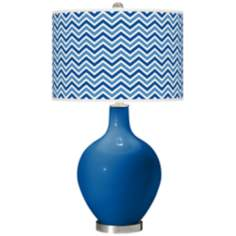 Hyper Blue Narrow Zig Zag Ovo Table Lamp