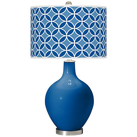 Hyper Blue Circle Rings Ovo Table Lamp