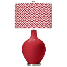 Ribbon Red Narrow Zig Zag Ovo Table Lamp