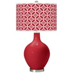Ribbon Red Circle Rings Ovo Table Lamp