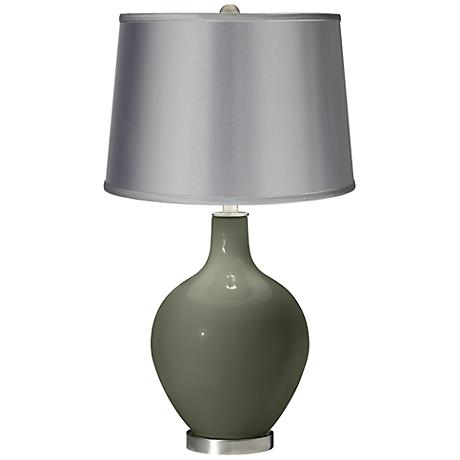 Deep Lichen Green - Satin Light Gray Shade Ovo Table Lamp