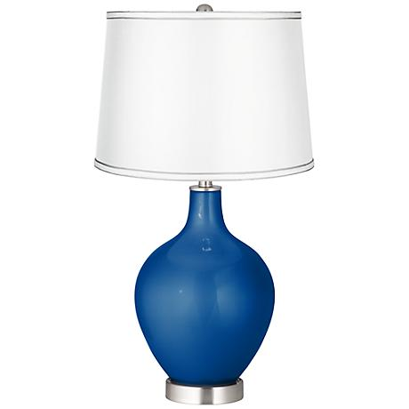 Ocean Metallic - Satin Silver White Shade Ovo Table Lamp