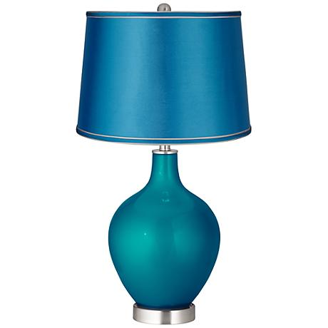 Turquoise Metallic - Satin Turquoise Shade Ovo Table Lamp