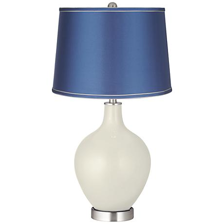 Vanilla Metallic - Satin Blue Shade Ovo Table Lamp