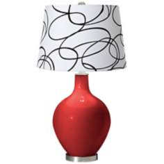 Cherry Tomato Squiggle Shade Ovo Table Lamp