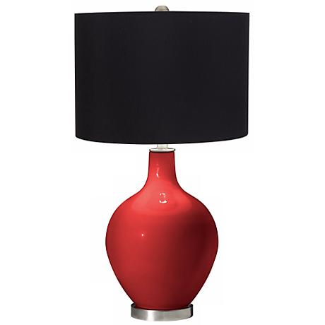 Cherry Tomato Black Shade Ovo Table Lamp