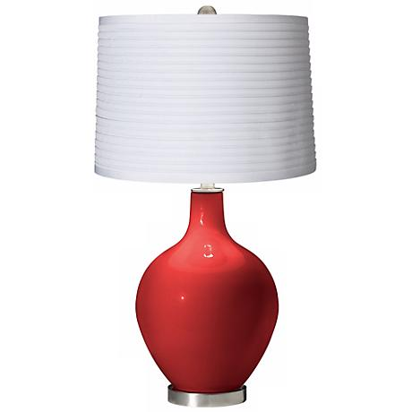 Cherry Tomato White Pleated Shade Ovo Table Lamp