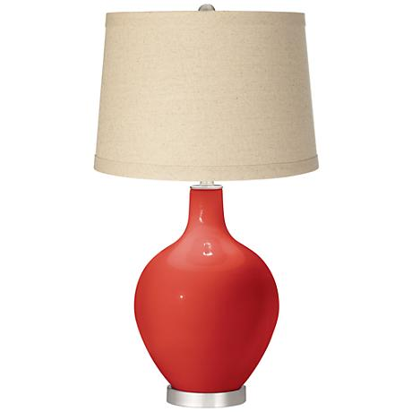 Cherry Tomato Oatmeal Linen Shade Ovo Table Lamp
