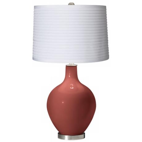 Brick Paver White Pleated Shade Ovo Table Lamp