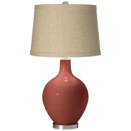 Brick Paver Oatmeal Linen Shade Ovo Table Lamp