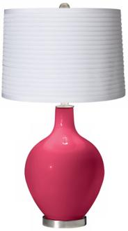 Eros Pink White Pleated Shade Ovo Table Lamp (X1363-X8887-Y8228) X1363-X8887-Y8228