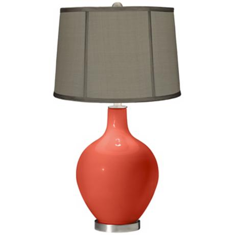 Modern Orange Gray Dupioni Silk Shade Ovo Table Lamp