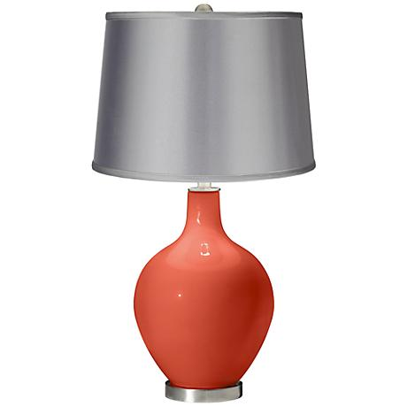 Daring Orange - Satin Light Gray Shade Ovo Table Lamp