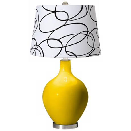 Citrus Squiggle Shade Ovo Table Lamp