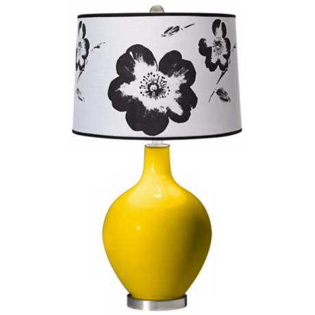 Citrus Black and White Flower Shade Ovo Table Lamp