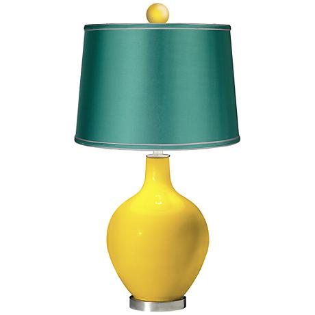 Citrus - Satin Sea Green Ovo Table Lamp with Color Finial