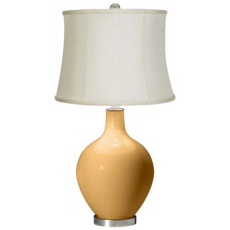 Harvest Gold Creme Fabric Drum Ovo Table Lamp