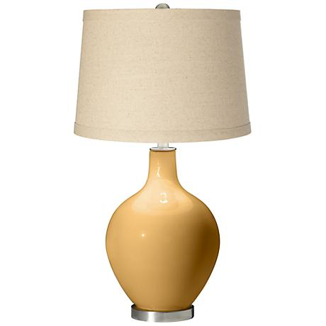 Harvest Gold Oatmeal Linen Shade Ovo Table Lamp