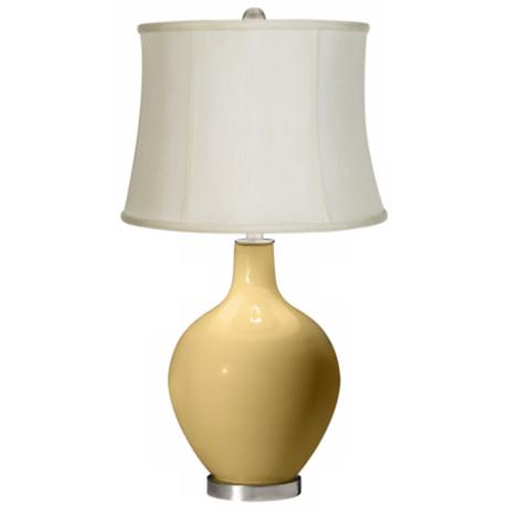 Humble Gold Creme Fabric Drum Ovo Table Lamp