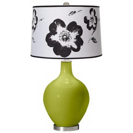 Parakeet Black and White Flower Shade Ovo Table Lamp