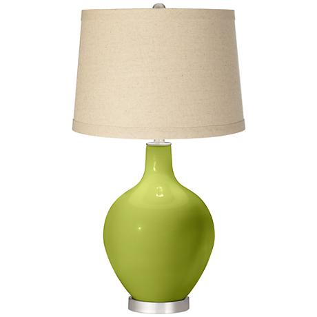 Parakeet  Oatmeal Linen Shade Ovo Table Lamp