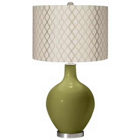 Rural Green Embroidered Hourglass Ovo Table Lamp