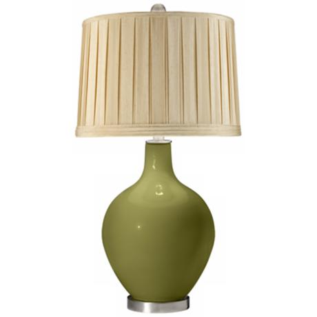 Rural Green Silken Cream Shade Ovo Table Lamp