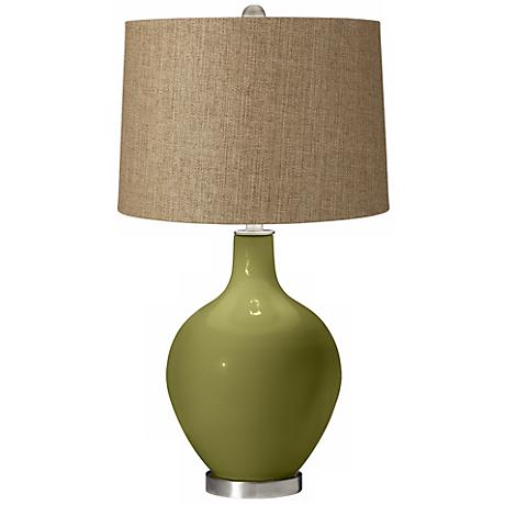 Rural Green Tan Woven Ovo Table Lamp