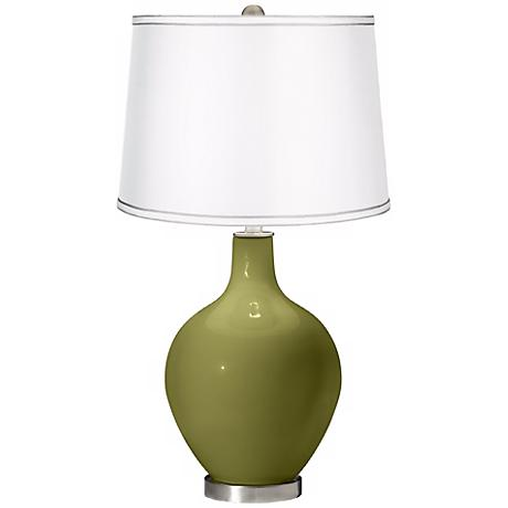 Rural Green - Satin Silver White Shade Ovo Table Lamp