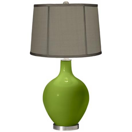 Gecko Gray Dupioni Silk Shade Ovo Table Lamp