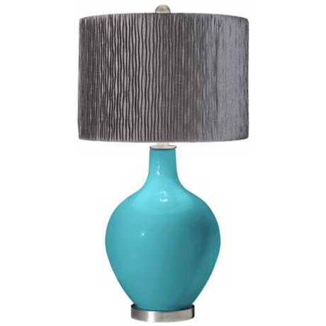 Surfer Blue Morell Silver Pleat Shade Ovo Table Lamp