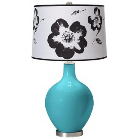 Surfer Blue Black and White Flower Shade Ovo Table Lamp