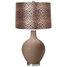 Mocha Leopard Print Ovo Table Lamp